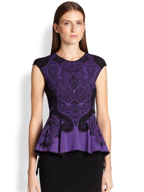 Alona Peplum lyst rvn baroque lace jacquard top in purple