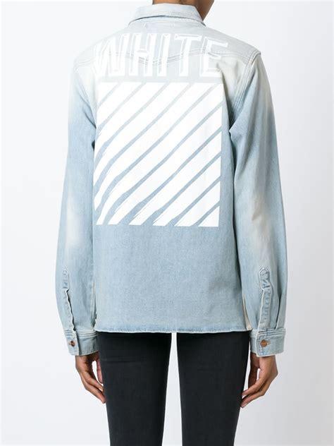 Jaket Denim White lyst white c o virgil abloh washed stretch denim jacket in blue