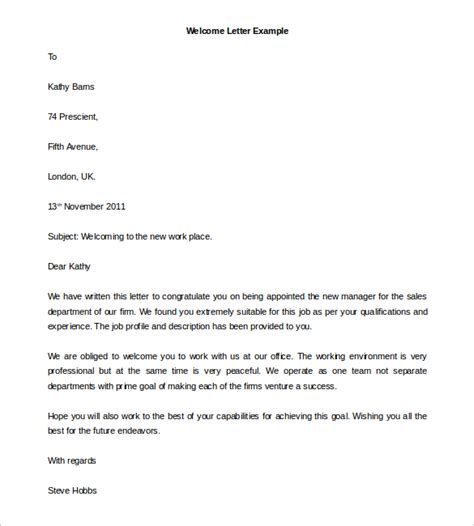 New Format Of Letter Writing In Best Template Collection 23 Hr Welcome Letter Template Free Sle Exle Format Free Premium Templates