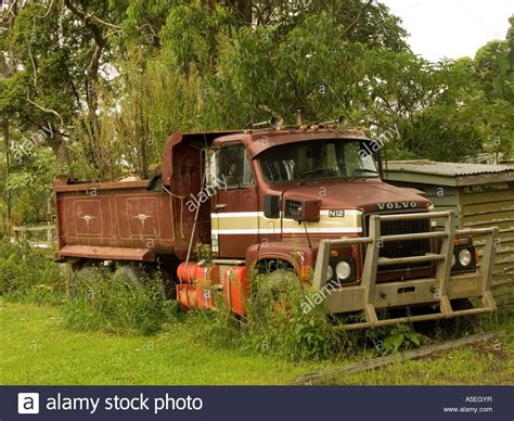 old volvo trucks for sale volvo tip dump truck abandoned in woodlands stock photo