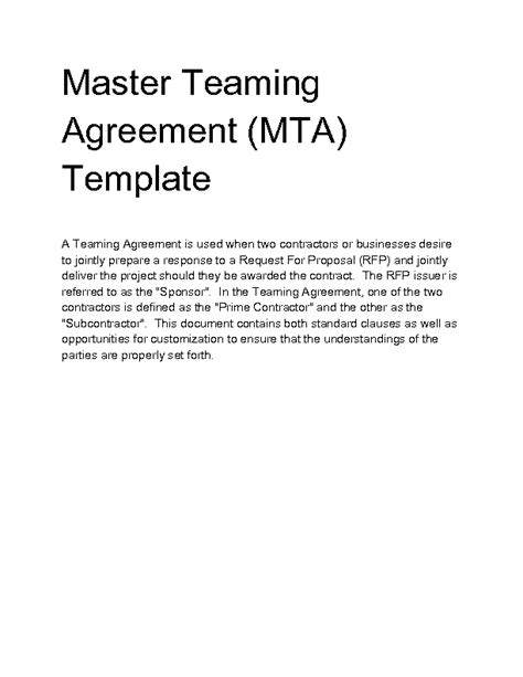 teaming agreement template welcome to docs 4 sale