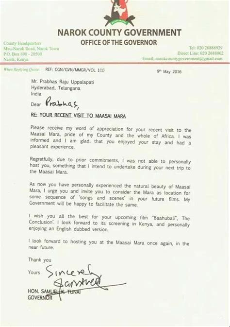 appreciation letter to government official prabhas gets an appreciation letter from government