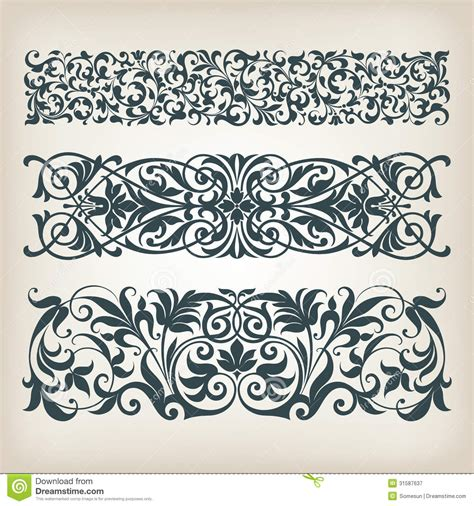 Vintage Set Border Frame Ornate Scroll Calligraphy Vector Royalty Free Stock Photography Image Ornament Stencil Template