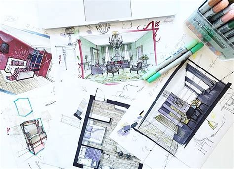 interior sketch sketching with markers for interior designers online