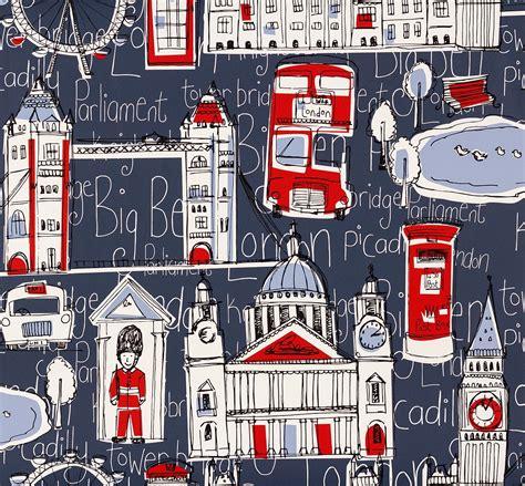Childrens Wall Mural rasch london wallpaper 245912 blue red cut price