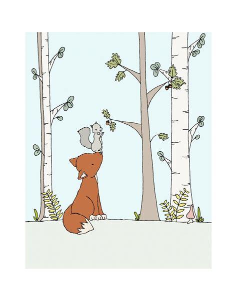 kinderzimmer zeichnungen bilder woodland nursery bushy tailed friends fox and