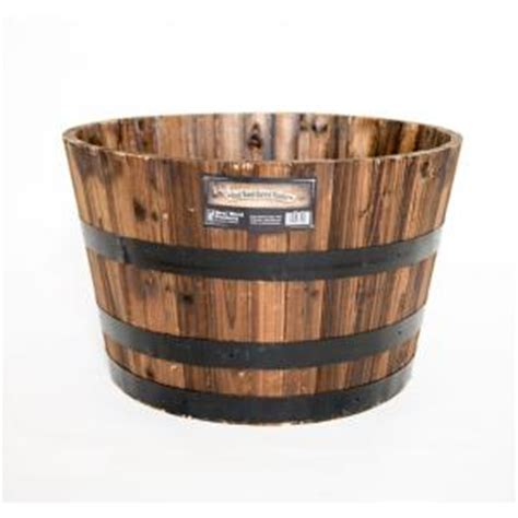Home Depot Barrel Planter by Real Wood 26 In Dia Cedar Half Whiskey Barrel Planter