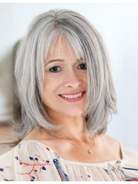 medium length bob style grey wig with bangs rewigs co uk