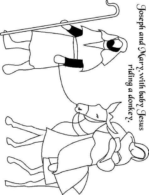 free coloring pages of mary on a donkey