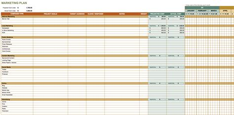 marketing plan template excel calendar template excel