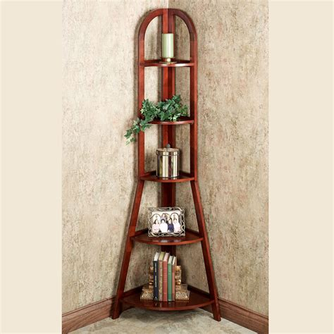 Furniture Tall Narrow Corner Shelves In Trendy Espresso Wood Corner Shelves