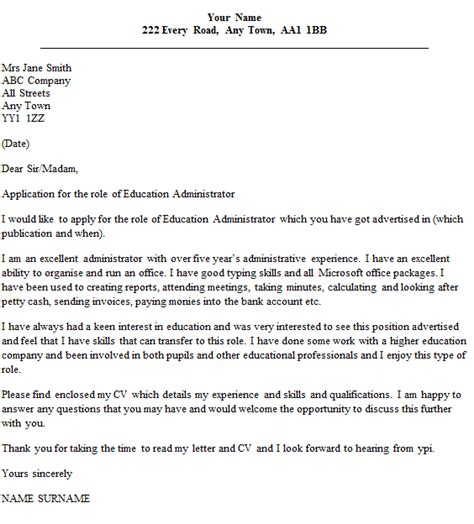 sle cover letter cover letter exles education