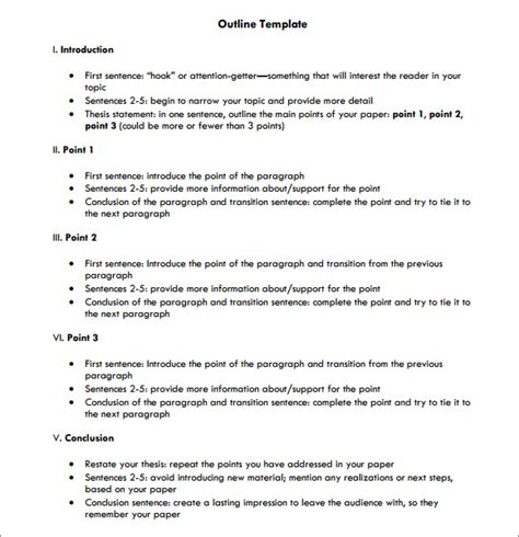 Essay Outline Exle Free by Outline Template 11 Free Documents In Pdf Excel Word