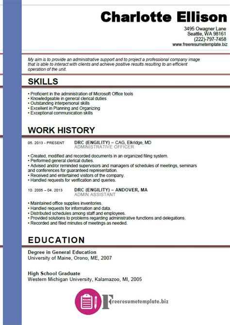 admin assistant resume template free resume