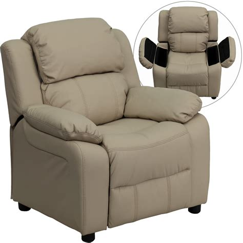 vinyl recliner flash furniture deluxe heavily padded contemporary beige