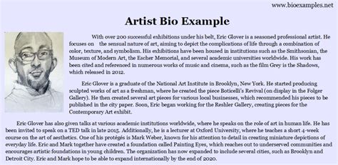 biography of the specimen artist bio exle bio exles pinterest