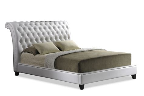 Jazmin Tufted Modern Bed With Upholstered Headboard by Baxton Studio Jazmin Tufted White Modern Bed With