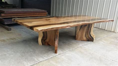 live edge table with glass and poplar burl timber salvabrani rainbow poplar live edge slab dining table with matching v shaped pedestals pedestal live