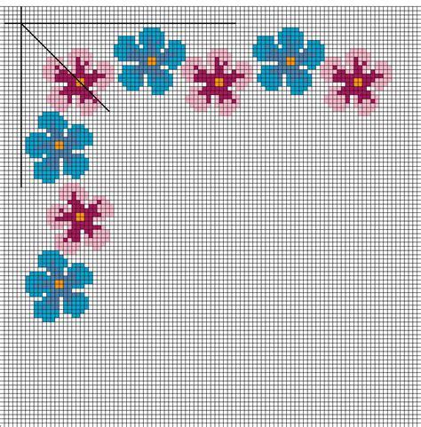 schema punto croce fiori bordo fiori arte ricamo europeo