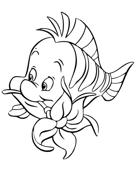printable little flowers flounder biting flower cartoon coloring page free