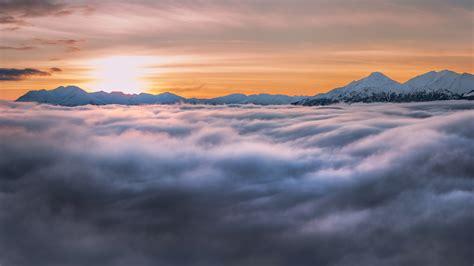 wallpaper sunrise fog morning turnagain arm hd