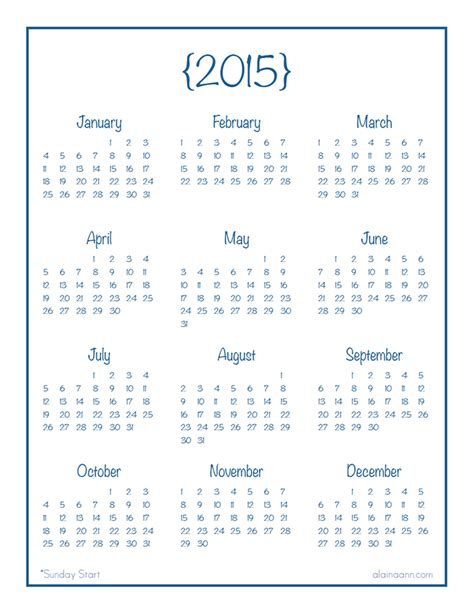 Printable Calendar Year At A Glance 2015 | 2015 year at a glance calendar organized life free