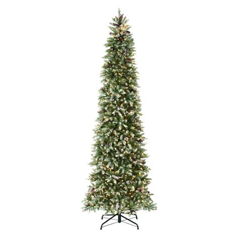 slim trees artificial pre lit martha stewart living 9 ft indoor pre lit dunhill fir
