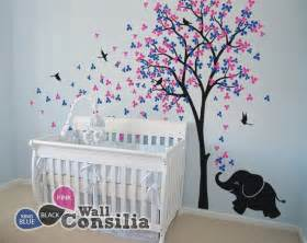 baby nursery wall decals tree decal elephant decor sticker kids home art girl boy room