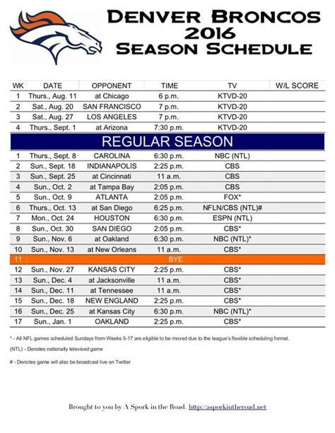 printable broncos schedule seasons the o jays and denver on pinterest