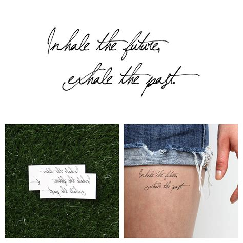 inhale exhale temporary tattoo quote set of 2