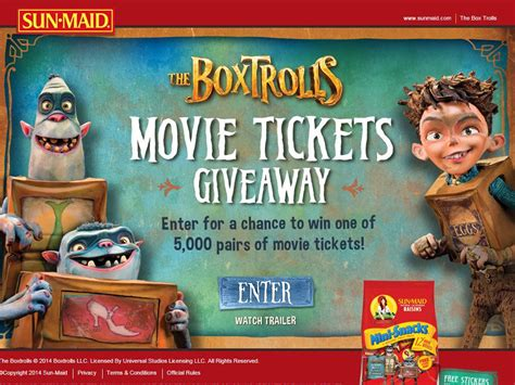 Sun Maid Movie Ticket Giveaway - sun maid s the boxtrolls back to school movie ticket giveaway