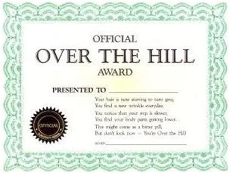 joke certificate official over the hill award
