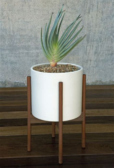 Modern Wood Planter by Study 174 Ceramic Cylinder With Wood Stand Large
