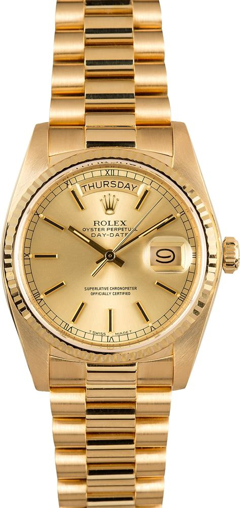 model date rolex presidential day date 18038 chagne