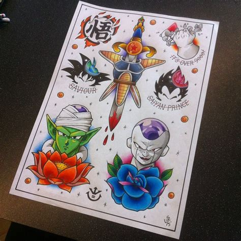 dragon ball z tattoo ideas z flash sheet by hamdoggz deviantart