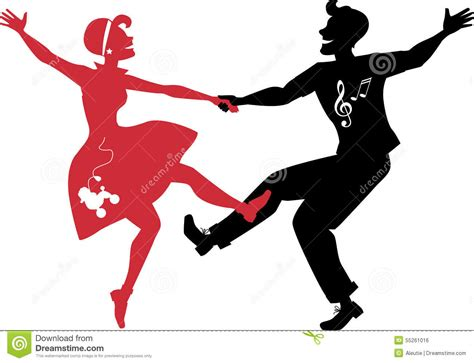 tutorial dance rock and roll rockabilly couple dancing silhouette stock vector