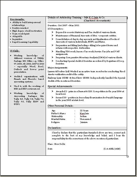Chartered Accountant Resume Sles India by Chartered Accountant Resume In Doc