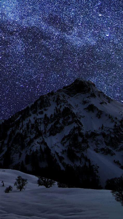 snow mountain night sky stars android wallpaper