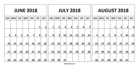 printable calendar july august 2018 june july august calendar 2018 happyeasterfrom com