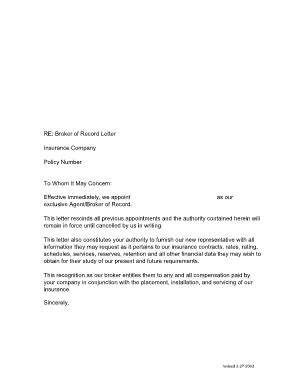 Insurance Bor Letter broker of record letter letter world