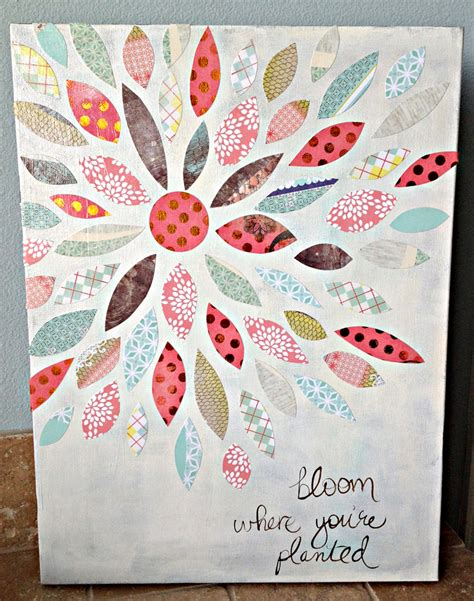 Craft Ideas With Scrapbook Paper - summer crafting day 12 paper flower canvas me my
