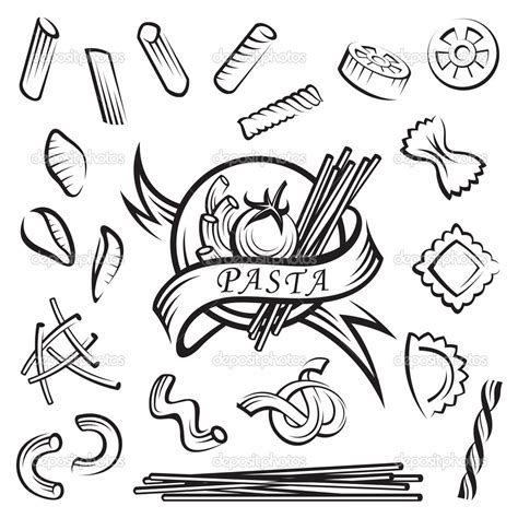 sketch of pasta coloring pages