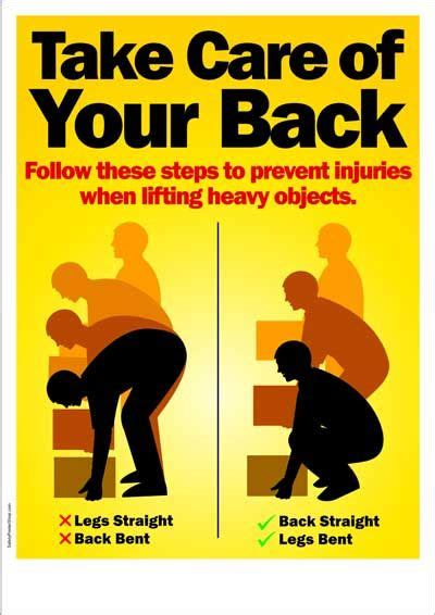 printable safe lifting poster workplace safety poster take care of your back safety