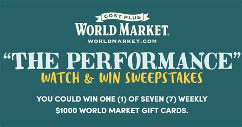 World Market Sweepstakes 2017 - cost plus world market the performance watch win sweepstakes