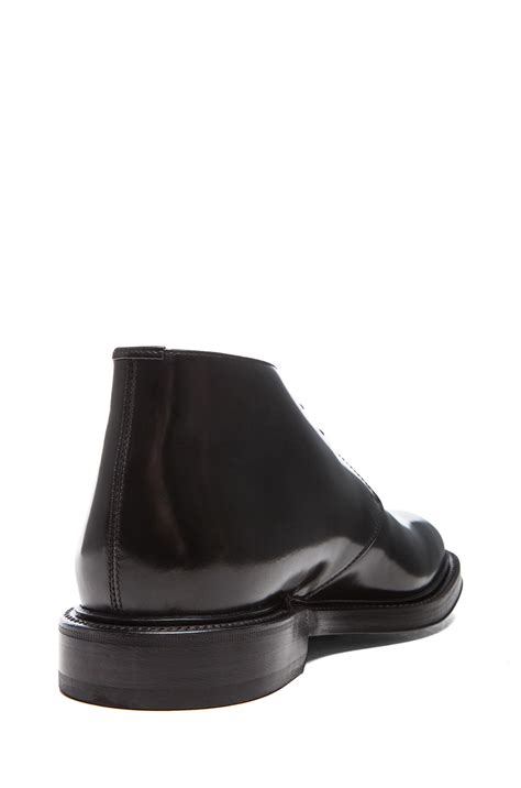 raf simons mens desert leather boots with leather sole in black lyst