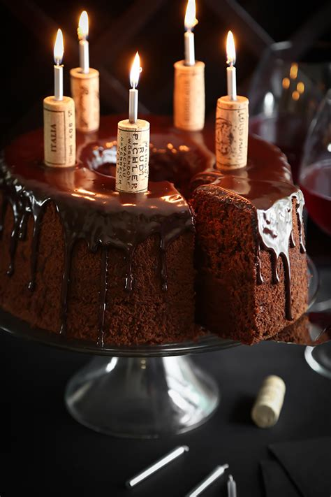 wine birthday candle chocolate wine chiffon cake sprinkle bakes