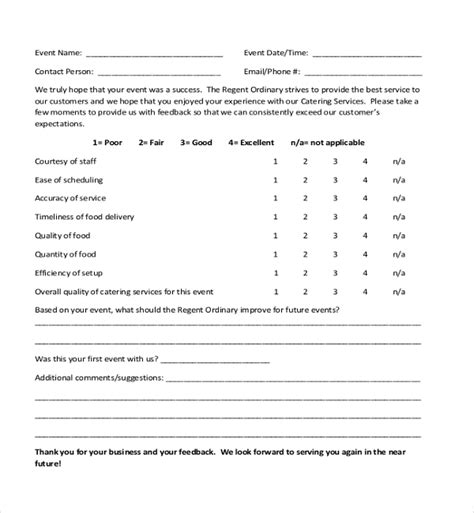 Sle Customer Feedback Form 22 Free Documents In Pdf Restaurant Customer Feedback Form Template