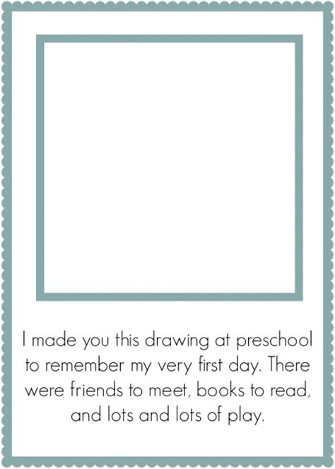 activities kindergarten first day first day of preschool keepsake free printable no time