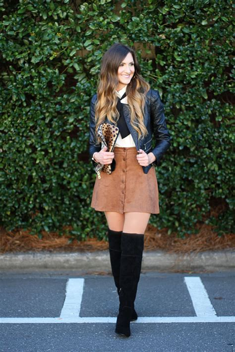 the knee boots suede skirts