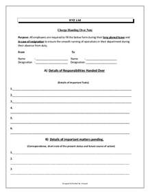 employee handover document template charge handover format